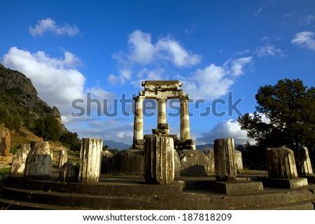 Athena Temple in Delphi - stock photo