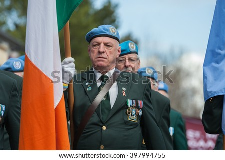 ATHENRY, IRELAND - MARCH 28: Members of Defence forces taking part in Parade during State ceremony marking the centenary of the 1916 Easter Rising on March 28, 2016 in Athenry, Ireland.