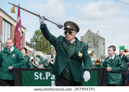 ATHENRY, IRELAND - MARCH 28: St. Patricks Band taking part in Parade during State ceremony marking the centenary of the 1916 Easter Rising on March 28, 2016 in Athenry, Ireland. - stock photo