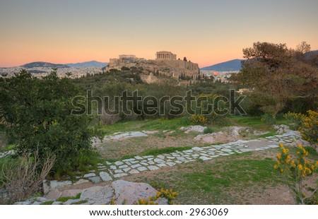 Athens Acropolis and Parthenon , at sunset - stock photo