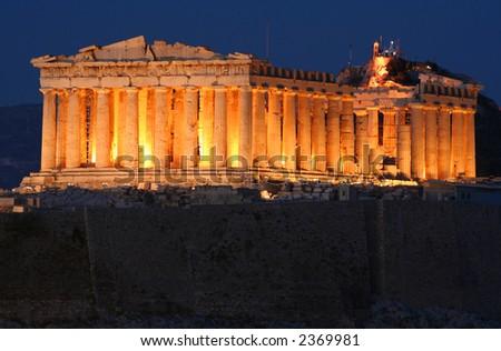 Athens Acropolis Parthenon at Night - stock photo