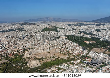 Athens city center aerial view including Acropolis and Greek Parliament.