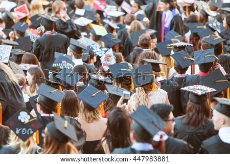ATHENS, GA - MAY 13:  University of Georgia graduates wearing their mortarboards gather as they prepare for graduation activities on May 13, 2016 in Athens, GA.