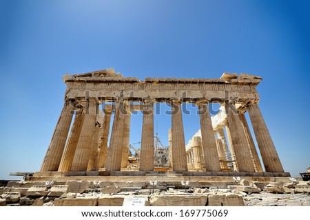 ATHENS, GRECE - 29 : The Parthenon is a temple on the Athenian Acropolis, Greece, dedicated to the maiden goddess Athena, which construction began in 447 BC. On May 29, 2013. Athens.
