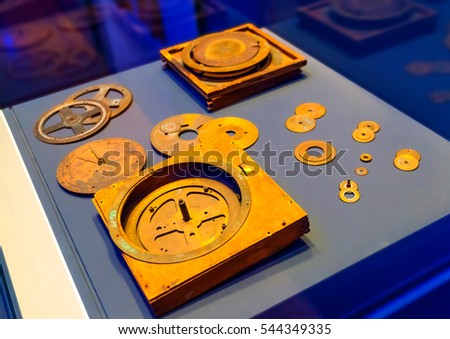 ATHENS, GREECE - APR 28, 2013: National Archaeological Museum of Greece in Athens. The famous Greek Antikythera Mechanism discoverd in Antikythera Shipwreck in Antikythere island in Greece