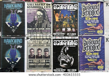 ATHENS, GREECE - APRIL 9, 2016: Concert posters for live music hard rock by Hawkwind, Scorpions, Villagers of Ioannina City garage punk by Sound Explosion, the Mongrelettes and hip-hop by Imiskoubria. - stock photo