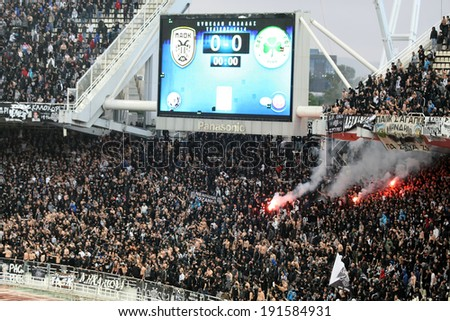 ATHENS, GREECE APRIL 26, 2014 : Paok fans and supporters during the Greek Cup Final match Paok vs Panathinaikos