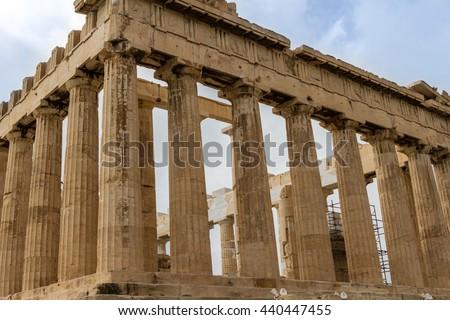 ATHENS, GREECE - April, 2015. - Parthenon on the Acropolis, detail  in Athens, Greece - stock photo