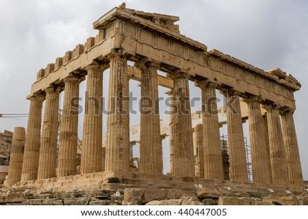 ATHENS, GREECE - April, 2015. - Parthenon on the Acropolis,  in Athens, Greece - stock photo