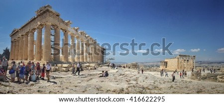 ATHENS, GREECE - APRIL 30, 2016; The Parthenon is a temple on the Athenian Acropolis, in Athens, Greece, dedicated to the goddess Athena, whom the people of Athens considered their patron.