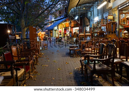 Athens, Greece - December 04, 2015: Antique furniture shop in the flea market in the Monastiraki area in Plaka, Athens