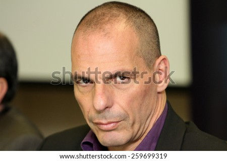 ATHENS, GREECE - JANUARY 31, 2015: Finance Minister Yanis Varoufakis during a press conference at the Finance Ministry in Athens - stock photo