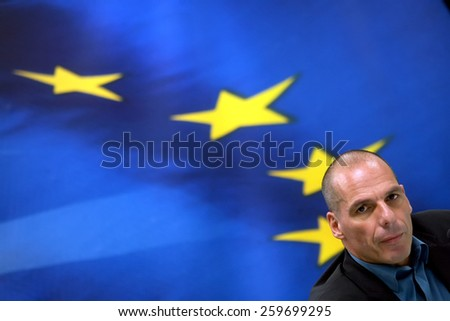 ATHENS, GREECE - JANUARY  31, 2015:Greece's Finance Minister Yanis Varoufakis during a joint press conference with Finance Minister and Eurogroup President Jeroen Dijsselbloem in Athens. - stock photo