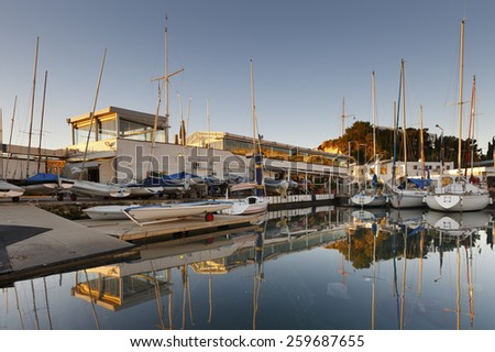ATHENS, GREECE - JANUARY 13 2015:  Yacht club in Mikrolimano marina in Athens, Greece on January 13th 2015..