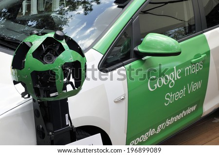 ATHENS GREECE JUNE 5, 2014. Google car is presented to the media in Athens. Google has launched its Street View map service in Greece after winning approval from the privacy authority. - stock photo