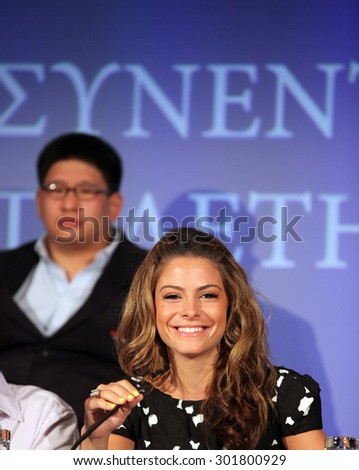 ATHENS, GREECE - JUNE 25: Greek-American actress, journalist and TV hostess Maria Menounos portrait on June 25, 2011 in Athens, Greece. She is abroad for co-hosting the Eurovision Song Contest 2006. - stock photo