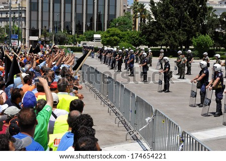 ATHENS-GREECE,JUNE 10 .Unemployed  protesters outside the Greek Parliament, in Athens,  June 10, 2011. - stock photo