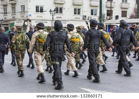 ATHENS,GREECE-MAR 25:Military parade for the Greece�s Independence Day.The parade took place amid a heavy police presence that barred onlookers from most of the route,March 16,2013 in Athens,Greece