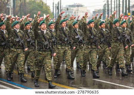 ATHENS, GREECE - MAR 25, 2015: Soldiers of Greek army during Independence Day of Greece is an annual national holiday, on this day, Greeks pay tribute to the heroes of the Revolution 1821-1829.  - stock photo