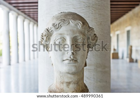 ATHENS,GREECE-MARCH 26,2016:Statue of the Nike in stoa of Attalos.