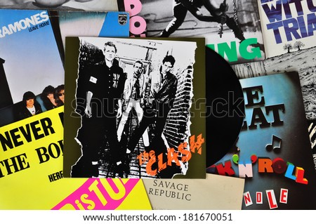 ATHENS, GREECE - MARCH 6, 2014: Vinyl records of punk rock bands and the debut album by The Clash released in 1977. Vintage LP album sleeves from the late 1970s and early 1980s.