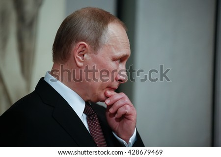 Athens, Greece - May 27, 2016: Russian President Vladimir Putin delivers a speech during his visit at the Byzantine and Christian museum in Athens  - stock photo