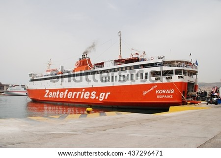 ATHENS, GREECE - MAY 11, 2016: Zante Ferries ferry boat Adamantios Korais docked at Piraeus harbour. The 100mtr vessel was built in Japan in 1987.