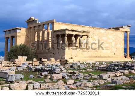 Athens, Greece - October 29, 2016: Erechtheion temple on the top of Acropolis hill, Ancient Athens
