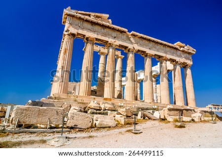 Athens, Greece. Ruins of Parthenon temple on the Acropolis heritage of Athens - stock photo