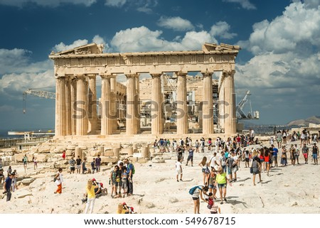 Athens, Greece - SEPTEMBER 2016: A lot of tourists around the Parthenon in Acropolis