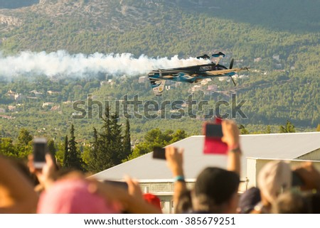 Athens, Greece 13 September 2015. Audience watching Melissa's Pemberton flight show at the Athens air week flying show.