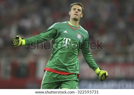 Athens, Greece- September 16, 2015: Manuel Neuer celebrates during the UEFA Champions League game between Olympiacos and Bayern, in Athens, Greece. - stock photo