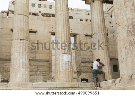 ATHENS - GREECE - SEPTEMBER 21,2016 :Reconstruction work on the Parthenon, the temple in the Acropolis of Athens in Athens, Greece.