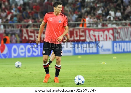 Athens, Greece- September 16, 2015: Robert Lewandowski before the beginning of the UEFA Champions League game between Olympiacos and Bayern, in Athens, Greece. - stock photo