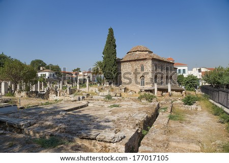 Athens. Roman Agora and Turkish Mosque. In the north of the Agora is the Fethiye Djami (mosque in Greek) a Turkish Mosque from 1456 AD that was built on an early Christian Basilica.