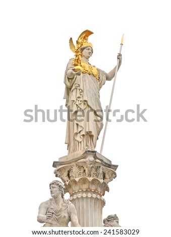 athens statue in vienna  parliament, isolated, austria - stock photo