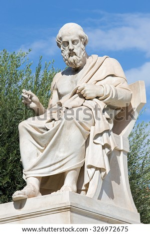 Athens - The statue of Plato in front of National Academy building by the Italian sculptor Piccarelli (from 19. cent.) - stock photo