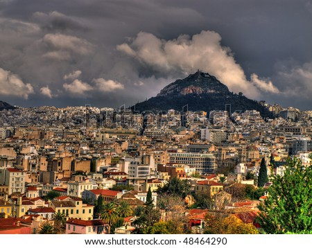 Athens view from Acropolis to Lycabetus hill - stock photo