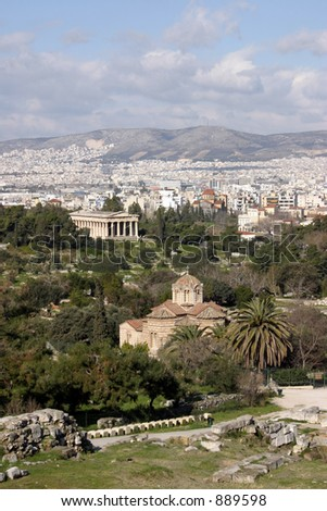 Athens view with archaeological site, two byzantine temples and one ancient temple at the front plane. - stock photo