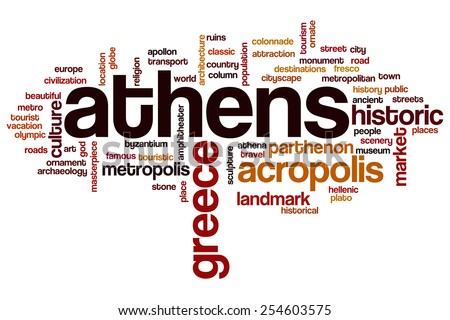 Athens word cloud concept - stock photo