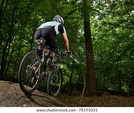 Athlet beim mountainbiken im Wald - stock photo