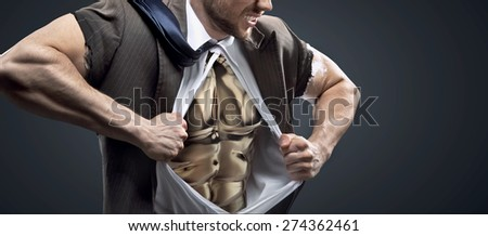 Athlete  businessman with a lot of internal force - stock photo