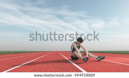 Athlete defeated in competition. This is a 3d render illustration
