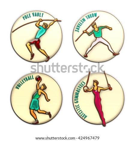 Athlete Icon. Volleyball. Javelin Throw. Pole Vault. Artistic Gymnastics. Summer games. Sport icon with sportsmen for competitions or championship design. Original 3D Illustration, gold, enamel, glass - stock photo