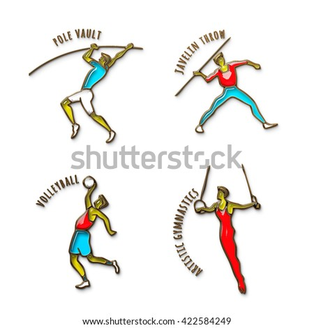 Athlete Icon. Volleyball. Javelin Throw. Pole Vault. Artistic Gymnastics. Summer games. Sport icons set with sportsman for  competitions, championship design. Original 3D Illustration, gold and glass - stock photo