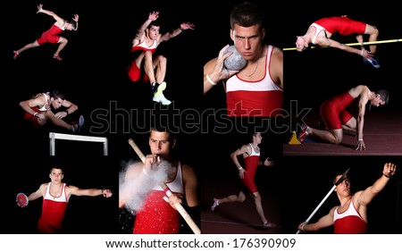 athlete in decathlon, studio isolated, hurdle race, shot put, javelin throwing, discus throw, pole vault,  long jump, high jump - stock photo