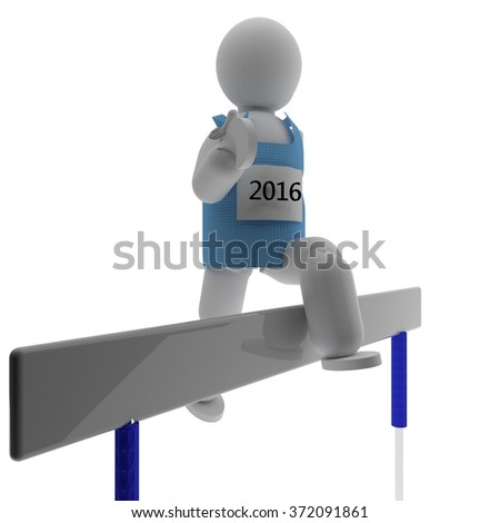 Athlete jumping over hurdle, shirt with 2016, 3d render, isolated over white - stock photo