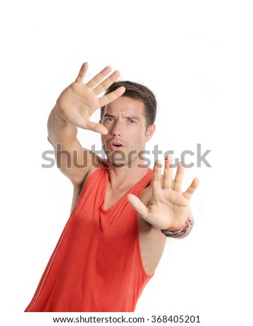 Athlete man with stop gesture - stock photo