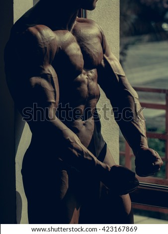 Athlete muscular bodybuilder with torso side chest six pack abdominal muscles biceps triceps on light background  - stock photo