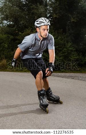 athlete on Inline-Skates - stock photo